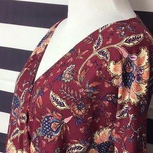 Chenault Wrap Floral Mood Burgundy blouse